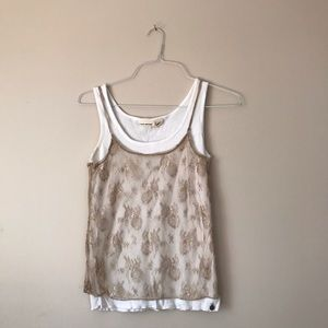 DKNY Double top white and tan lace